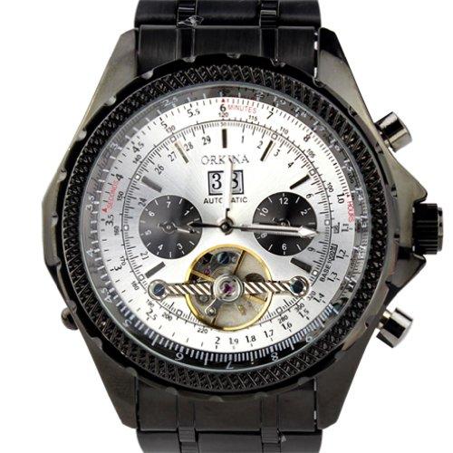 Orkina Chronograph im Skelettuhrenstil mechanisches Uhrwerk mit Tourbillon Edelstahl KC082SBW schwarzes Gehaeuse