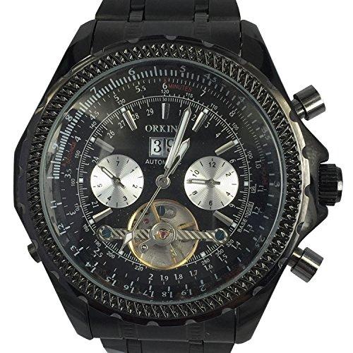 Orkina 6 Zeiger Edelstahl mechanisches Uhrwerk KC082SBB schwarzes Gehaeuse