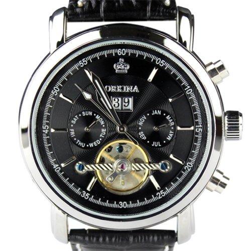 Orkina Chronograph im Skelettuhrenstil Leder Schwarz mechanisches Uhrwerk KC042LB silberfarbenes Edelstahlgehaeuse