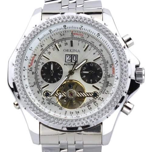 Orkina Herren-Armbanduhr Chronograph Edelstahl mechanisches Uhrwerk mit Handaufzug KC082SSW silberfarbenes Gehäuse