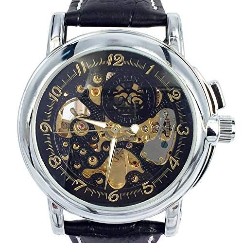 Orkina MG015LB Armbanduhr, Skelettuhr, mechanisches Automatikuhrwerk, Lederarmband, Schwarz