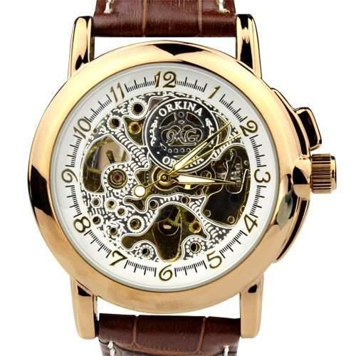 Orkina Herren-Armbanduhr Leder mechanisches Uhrwerk MG015LGBN goldfarbenes Gehäuse