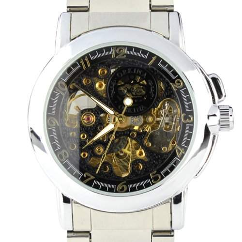 Orkina Herren-Armbanduhr im Skelettuhrenstil Edelstahl automatisches Quarzuhrwerk MG015SB