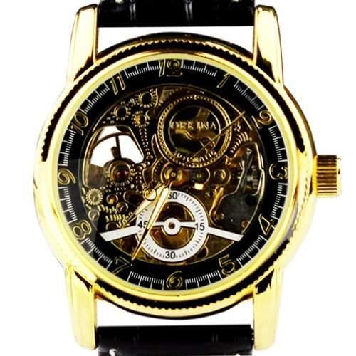 Orkina Herren-Armbanduhr Leder Schwarz mechanisches Quarzuhrwerk mit Tourbillon MG016BB