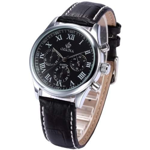 AMPM24 Chronograph Herren Uhr Analog Quarzuhr Schwarz Armbanduhr Leder