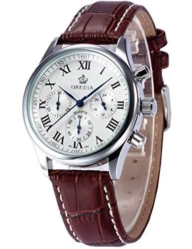 ORKINA Chronograph Herren Uhr Analog Quarzuhr Braun Armbanduhr Leder