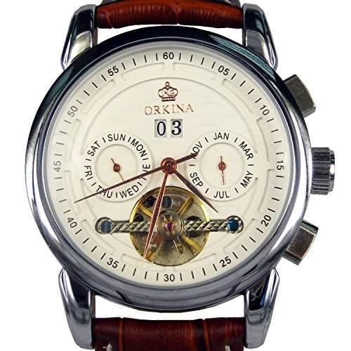 Orkina ORK-0240 Armbanduhr, silberfarbenes Gehäuse aus Edelstahl, Zeiger aus Rotgold, Datumsanzeige, mechanisches Automatikuhrwerk, Lederarmband
