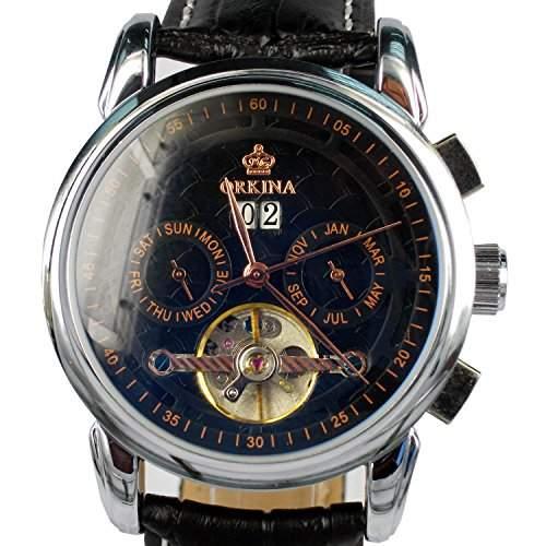 Orkina ORK-0241 Armbanduhr, silberfarbenes Gehäuse aus Edelstahl, Zeiger aus Rotgold, Datumsanzeige, mechanisches Automatikuhrwerk, Lederarmband