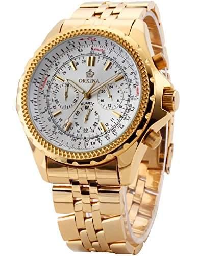 ORKINA Elegant 6 Zeiger Armbanduhr Herrenuhr Quarzuhr Uhr ORK096