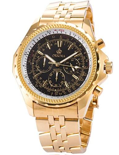 ORKINA Elegant 6 Zeiger Armbanduhr Herrenuhr Quarzuhr Uhr ORK097
