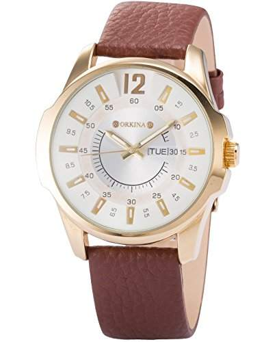 ORKINA Herrenuhr Analog Quarzuhr Braun Armband Uhr mit Datumanzeige Leder