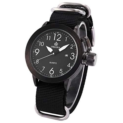 ORKINA Militär Herren Uhr Analog Quarzuhr Nylon Armbanduhr