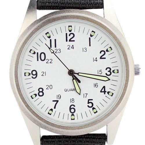 Orkina Armbanduhr Nylon Quarzuhrwerk P104SW silberfarbenes Gehaeuse