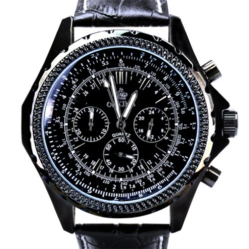 Orkina Chronograph Leder PO004LB schwarzes Gehaeuse