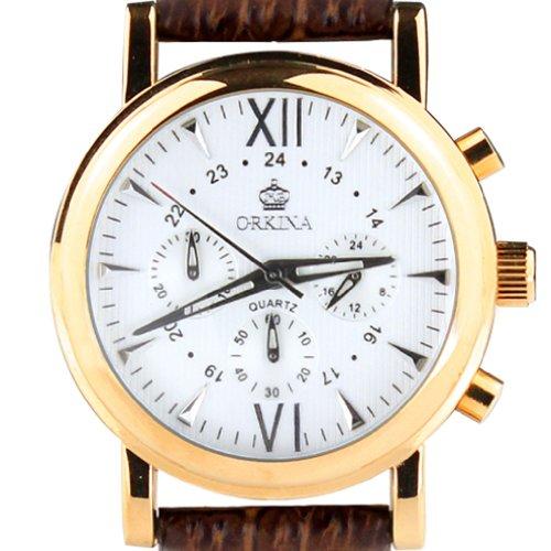 Orkina Chronograph Leder PO013 L BW Edelstahlgehaeuse