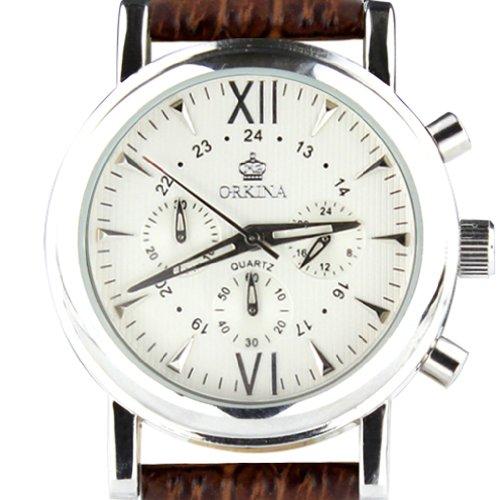 Orkina Chronograph Leder Braun PO013LSW silberfarbenes Gehaeuse