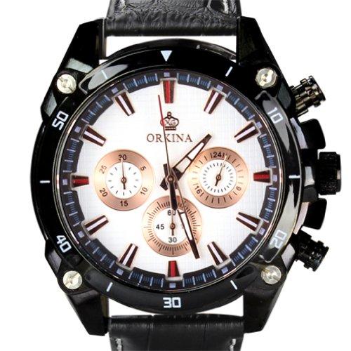 Orkina Herren Armbanduhr Chronograph Leder PO014 LBW schwarzes Gehaeuse