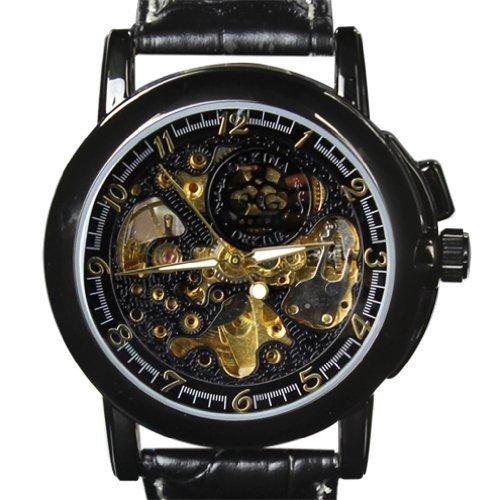 ORKINA Herren Schwarz Fall Hohl mechanische Skelett Zifferblatt Lederband Armbanduhr