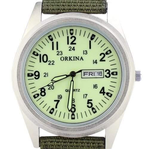 Orkina Herren-Armbanduhr Nylon Quarzuhrwerk mit Datumsanzeige P104CASLG