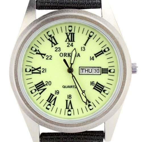 Orkina Herren-Armbanduhr Nylon Quarzuhrwerk mit Datums- und Tagesanzeige P109CA-SRLG