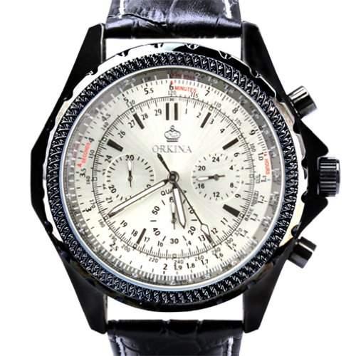 Orkina Herren-Armbanduhr Chronograph Leder PO004LW schwarzes Gehäuse