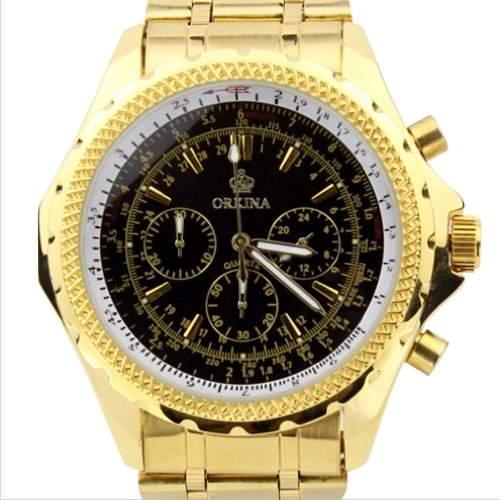 Orkina Herren-Armbanduhr Chronograph Edelstahl PO004SGB goldfarbenes Gehäuse
