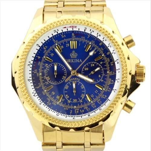 Orkina Herren-Armbanduhr Chronograph mit 6 Zeigern Edelstahl PO004SGBLU goldfarbenes Gehäuse