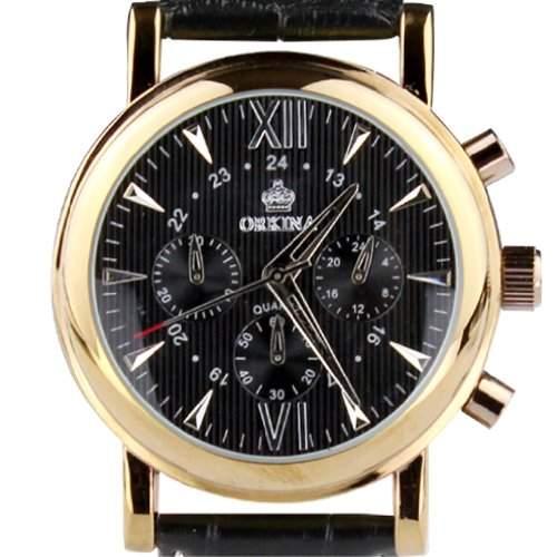 Orkina Herren-Armbanduhr Chronograph Leder PO013-L-BBLK Edelstahlgehäuse