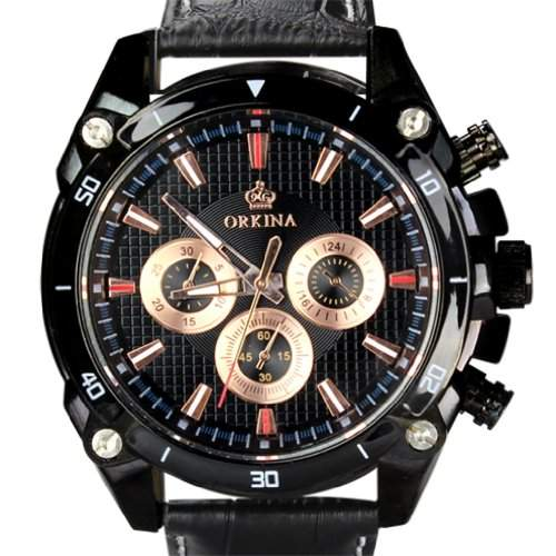 Orkina Herren-Armbanduhr 6 Zeiger Leder PO014-LBB schwarzes Gehäuse