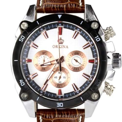 Orkina Herren-Armbanduhr Chronograph Leder PO014-LSW silberfarbenes Gehäuse