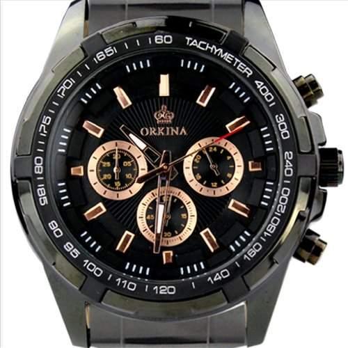 Orkina Herren-Armbanduhr 6 Zeiger Edelstahl PO014-SBB Schwarz
