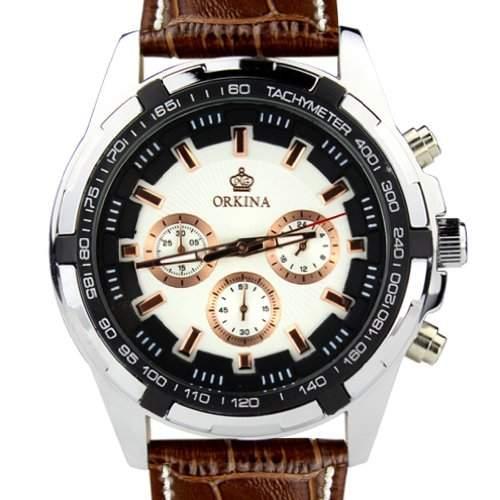 Orkina Herren-Armbanduhr Chronograph Leder PO015-LSW silberfarbenes Gehäuse