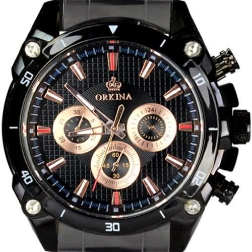 Orkina Herren-Armbanduhr Chronograph Edelstahl PO015-SBB schwarzes Gehäuse