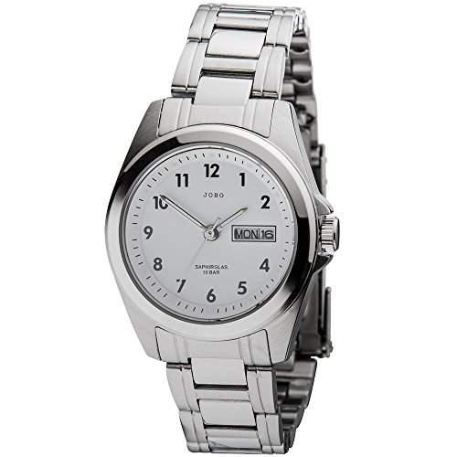 JOBO Damen-Armbanduhr Quarz Analog Edelstahl Safirglas