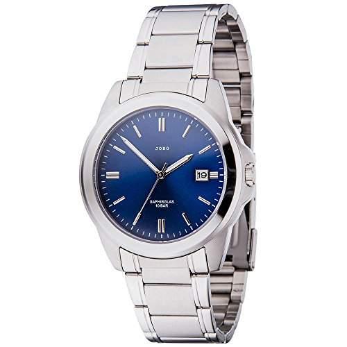 JOBO Herren-Armbanduhr Quarz Analog Edelstahl Safirglas Zifferblatt blau