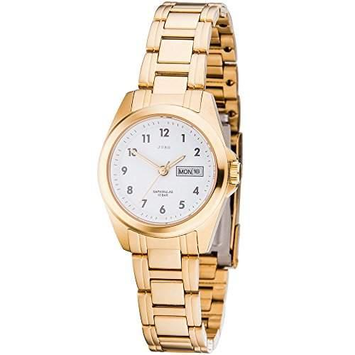 JOBO Damen-Armbanduhr Quarz Analog Edelstahl gold vergoldet Safirglas
