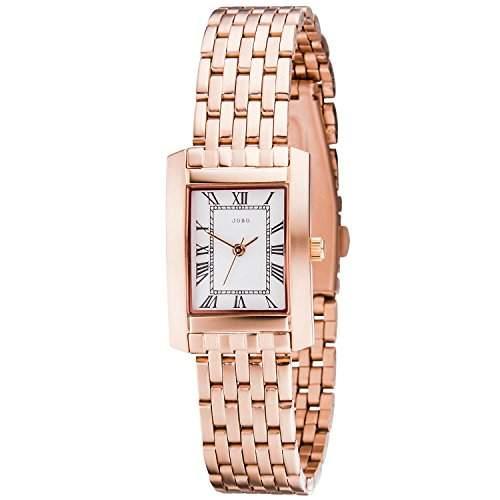 JOBO Damen-Armbanduhr Quarz Analog Edelstahl Farbe: rotgold  rosegold