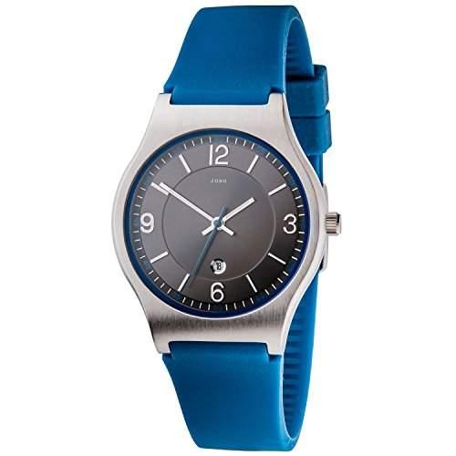 JOBO Unisex-Armbanduhr Quarz Analog Edelstahl Silikonband blau Mineralglas