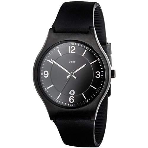 JOBO Herren-Armbanduhr Quarz Analog Edelstahl schwarz palttiert Mineralglas