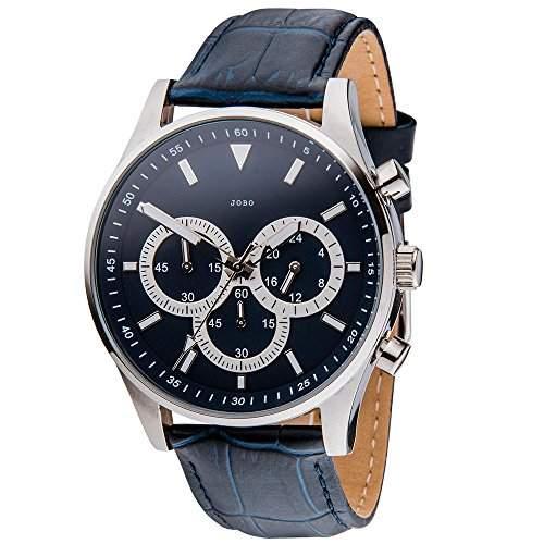 JOBO Herren-Armbanduhr Quarz Chronograph Edelstahl Lederband Mineralglas