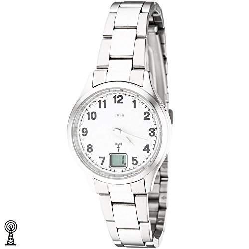 JOBO Damen-Armbanduhr Edelstahl Mineralglas Funkuhr