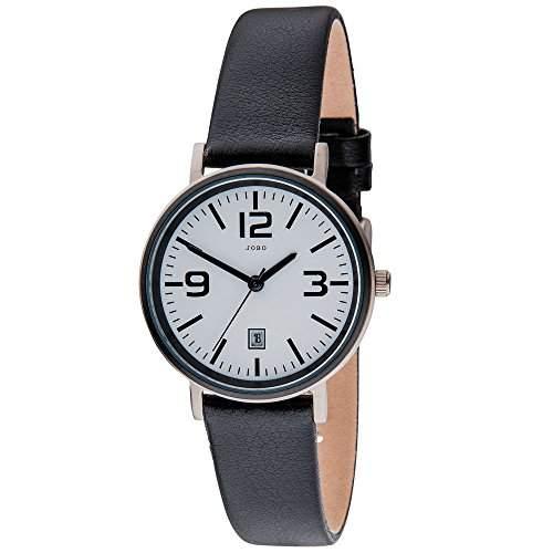JOBO Damen-Armbanduhr Quarz Analog Titan Lederband Mineralglas