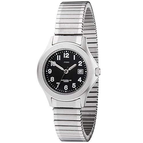 JOBO Damen-Armbanduhr Quarz Analog Edelstahl Safirglas Flexband