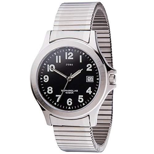 JOBO Herren-Armbanduhr Quarz Analog Edelstahl Safirglas Flexband