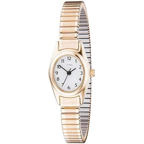JOBO Damen-Armbanduhr Quarz Analog Edelstahl gold vergoldet Mineralglas Flexband