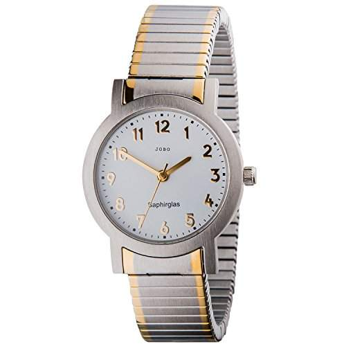 JOBO Damen-Armbanduhr Quarz Analog Edelstahl bicolor Safirglas Flexband