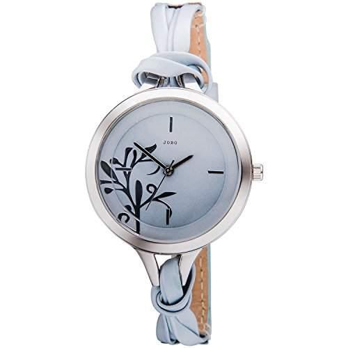 JOBO Damen-Armbanduhr hellblau blau Quarz Analog Edelstahl Lederband Mineralglas