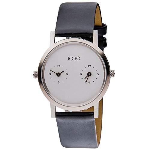 JOBO Damen-Armbanduhr Zwei Zeiten Quarz Analog Edelstahl Lederband
