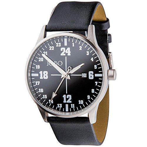 JOBO Armbanduhr 24 Stunden Uhr Quarz Analog Edelstahl Lederband Mineralglas
