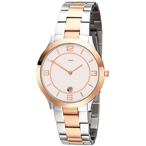 Armbanduhr Herren vergoldet von JOBO Herrenuhr Edelstahl Armband Analog Bicolor Design Quarz Uhr mit Datumsanzeige